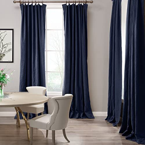 COFTY Linen Cotton Eco-Friendly Curtain Panel Drapery 2-Layer Heavyweight for Kitchen Bedroom Living Room School Flat Hooks – Indigo 50Wx120L Inch 1 Panel