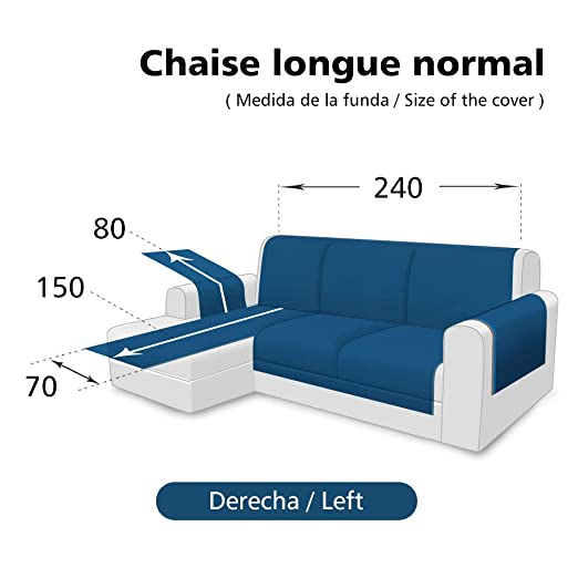 SearchI Fundas de Sofa Chaise Longue Izquierdo 240cm Impermeable,Protector Su Muebles Chairse Longue Cubierta para Sofás Acolchado Reversible Cubre de ...