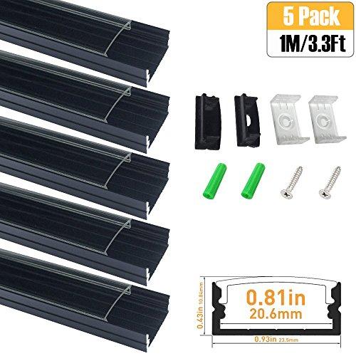 LightingWill Clear LED Aluminum Channel U Shape 3.3Ft/1M ...