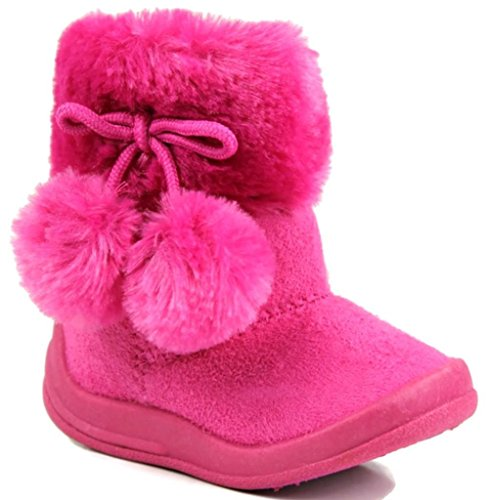 Kali Footwear Little Girl's Bany Flat  Pom Pom Ankle Boot, Hot Pink (Hot Girls Boots)