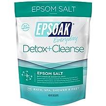 Epsoak Everyday Epsom Salts - 2 lbs. Detox + Cleanse Bath Salts - Scented Epsom Salt for Bath, Spa, Shower Feet