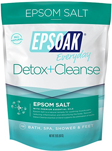 Epsoak Everyday Epsom Salts - 2 lbs. Detox + Cleanse Bath Salts - Scented Epsom Salt for Bath, Spa, Shower Feet (Scented Bath Salt Herbal)