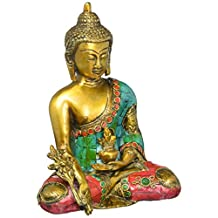 Aone India Large Turquoise Coral Medicine Buddha Statue, Tibetan Buddha Statue, Sitting Brass Statue + Cash Envelope (Pack Of 10)