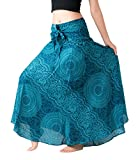 Bangkokpants Women's Long Hippie Bohemian Skirt Gypsy Dress Boho Clothes Flowers One Size Fits (Blossom Blue, One Size)