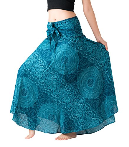 Bangkokpants Women's Long Hippie Bohemian Skirt Gypsy Dress Boho Clothes Flowers One Size Fits (Blossom Blue, One Size)