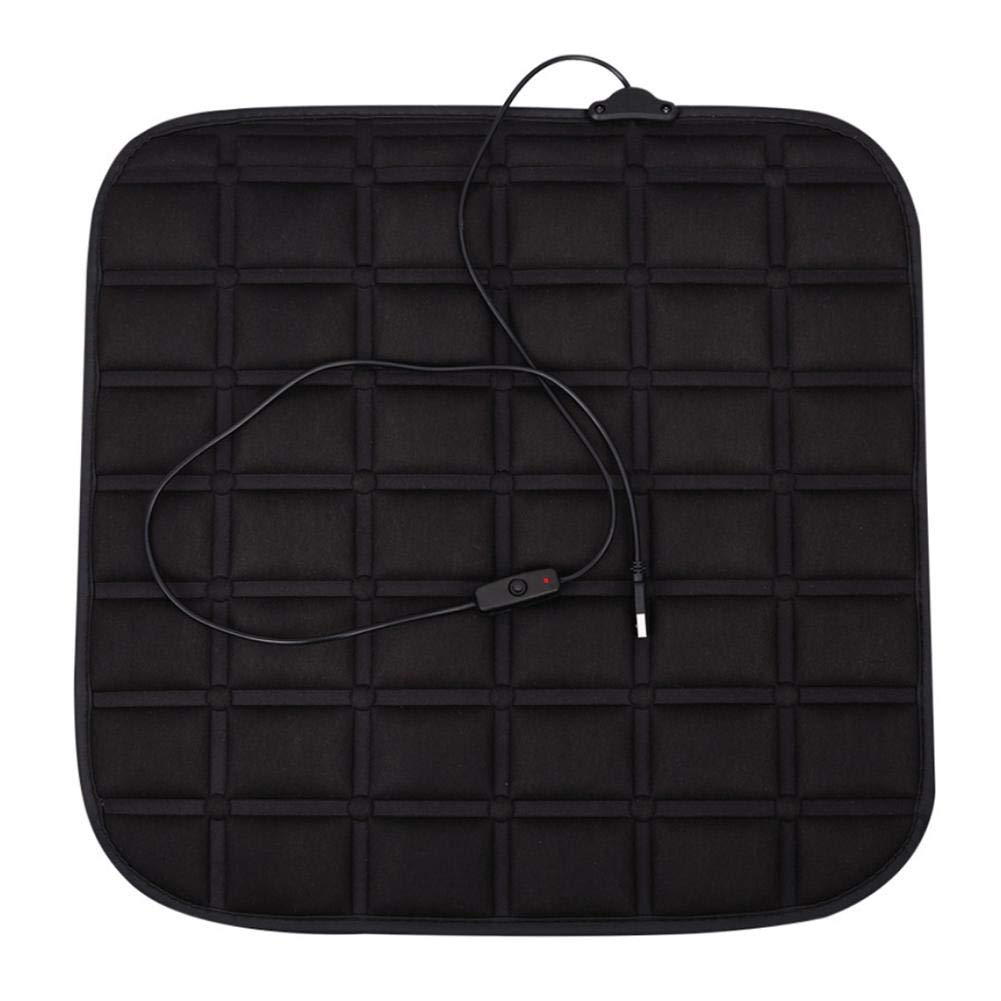 Heated Car Seat Cushion -Black 12V Heating Warmer Pad Hot Cover Perfect for Cold Weather and Winter Driving Biback