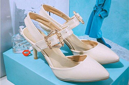 Aisun Damen Elegante Lack Spitz Geschlossene Zehe Schönes Knöchelriemchen Stiletto Sandalen Beige