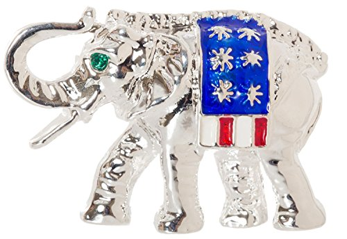 Elephant Republican Pin (Artisan Owl Patriotic Elephant Republic Party Brooch Pin 1.6