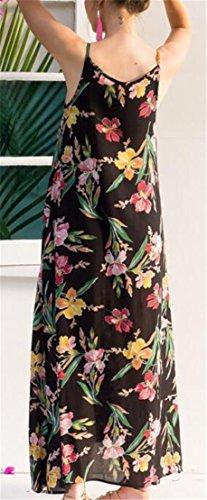 Jaycargogo Womens Floral Fines Bretelles Mode Accepter La Taille Robe De Plage Noire