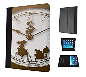 459 - Vintage Clock Alice in Wonderland Design Apple ipad Mini 4 -2015 Fashion Trend TPU Leather Flip Case Protective Purse Pouch Book Style Defender Stand Cover
