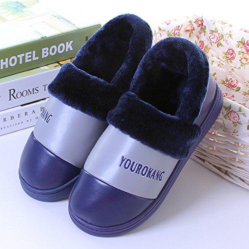 Y-Hui in inverno uomini pantofole di cotone con tutte le scarpe da donna Home Arredo Pu impermeabile fondo spesso paio di scarpe caldo,40-41 metri,Navy