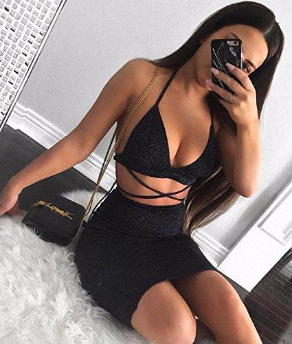 Bequeen Sans Manches Col V Strapy De 2 Pcs Moulante Noire Mini Robe De Club Féminin