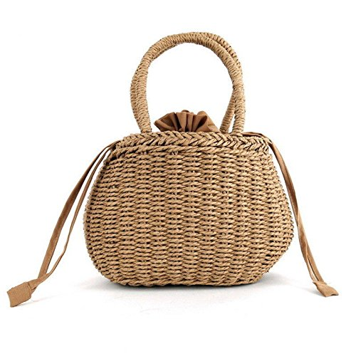 ags - Knitting Straw Woven Clutches Bag Camping Picnic Rattan Braided Drawstring Closure Handbag - khaki - 1 x Straw Bag ()