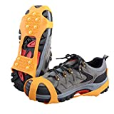 TRIWONDER Ice Grips 10 Teeth Anti-Slip Shoe/Boot Ice Traction Slip-on Snow Ice Spikes Crampons Cleats Stretch Footwear Traction (Orange, XL)
