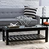 Bistro Coffee Tables Glass Top Slat Bottom Rectangle Wood Cocktail Living Room End Table Modern Furniture Review