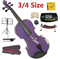 Merano 3/4 Size Purple Violin with Case and Bow+Extra Set of String, Extra Bridge, Shoulder Rest, Rosin, Metro Tuner, Music Stand, Mute