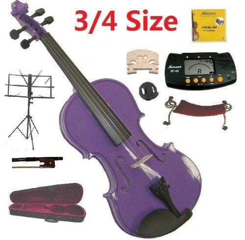 Merano 3/4 Size Purple Violin with Case and - Electric Viola 14 Inch