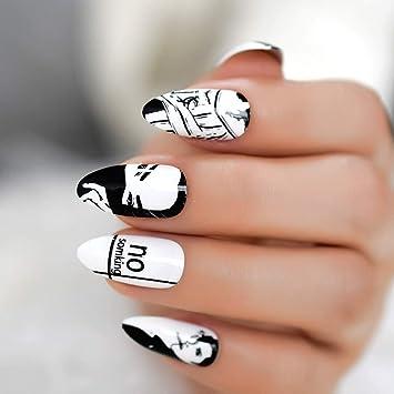 EchiQ Classic - Uñas postizas de color blanco y negro ...
