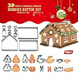 18PCS/Set DIY Stainless Steel Christmas Series Colybecation Cookie Cutter 3D Gingerbread House Biscuit Mold Fondant Cake Decorating Tools
