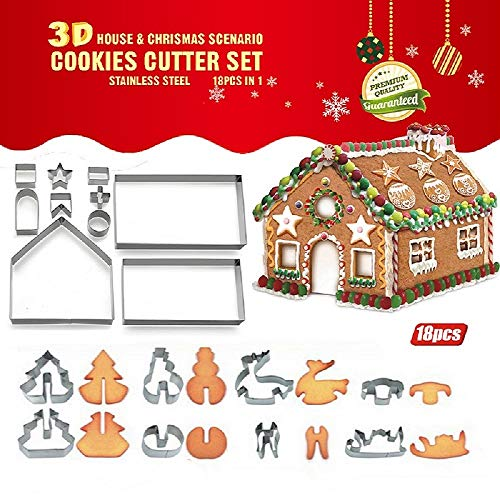(Joinor 18PCS/Set DIY Stainless Steel Christmas Series Cookie Cutter 3D Gingerbread house Biscuit Mold Fondant Cake Decorating Tools )