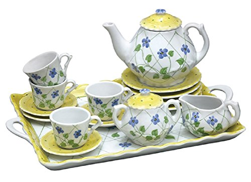 Children's Tea Party Set - Yellow Polka Dot & Periwinkles - 18 Pc