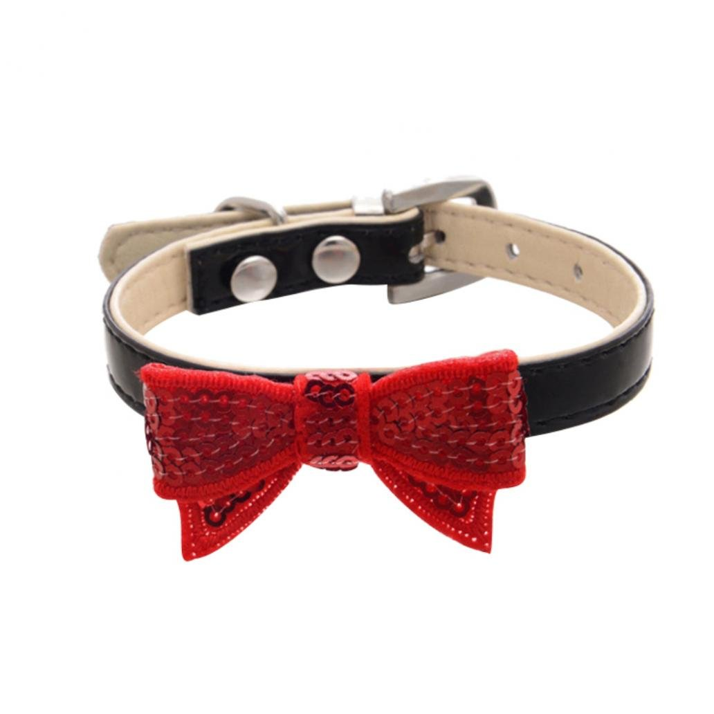 Gaweb Fashion Paillette Bowknot Faux Leather Pet Dog Cat Bow Tie Adjustable Collar