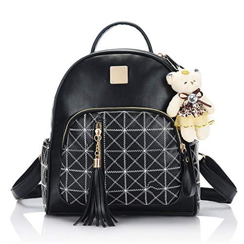 travel diamond cute 01black tassel plaid Women's casual backpack 1wFqACx