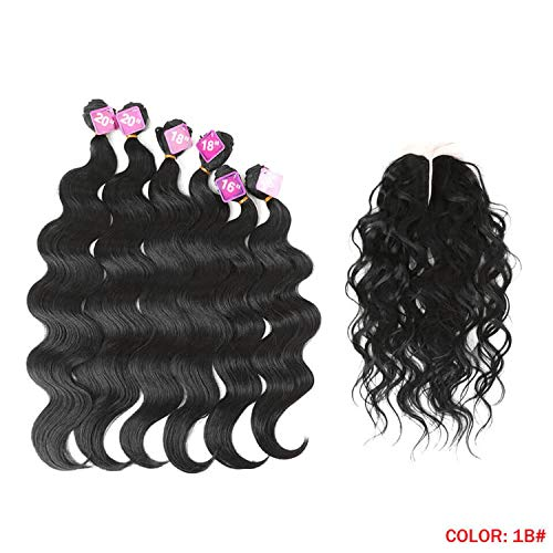 Body Wave Curl Hair 16-20 inch 7Pieces/lot 240g Synthetic Hair Bundles With Closure Middle Part Lace Front Closure,#1B,16 18 20inches (Best Wet N Wavy Braiding Human Hair)