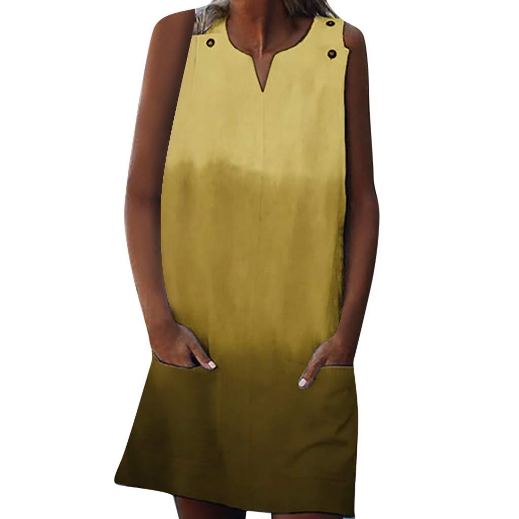 Tantisy ♣↭♣ Women's Gradient Vests Dresses V-Neck Sleeveless Casual Beachdress with Pockets Multi-Code Multicolor Yellow