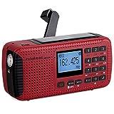 TIVDIO HR-11W NOAA Weather Alert Radio Alarm with Emergency Radio AM FM Solar Hand Crank Camping Red SOS Light Flashlight Wireless TF Card Speaker Digital Recorder Phone Charger(Red)