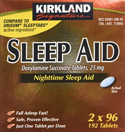 Kirkland Signature Sleep Aid Doxylamine Succinate 25 Mg, 2 pack (192 Tablets)