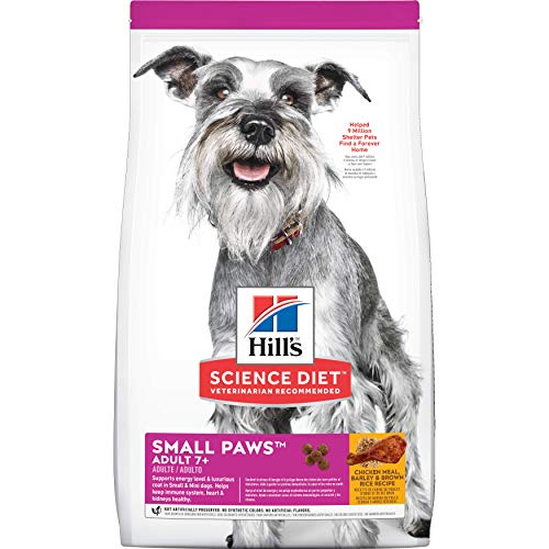 (Hill's Science Diet Dry Dog Food, Adult 7+ for Senior Dogs, Small Paws for Small Breeds, Chicken Meal, Barley & Brown Rice Recipe, 15.5 lb Bag )