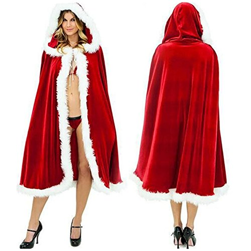 Kangnice Women Christmas Mrs Santa Claus Cloak Xmas Costume Cappa Cloak Cape (150cm) (Santa Claus Costumes For Women)