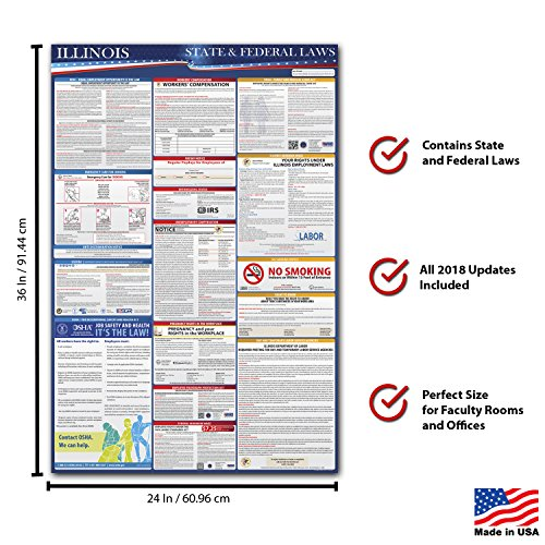 2018 Illinois State and Federal Laws Labor Poster - OSHA Workplace Compliant 36'' x 24'' - UV Coated by Compliance Audit Center (Image #1)