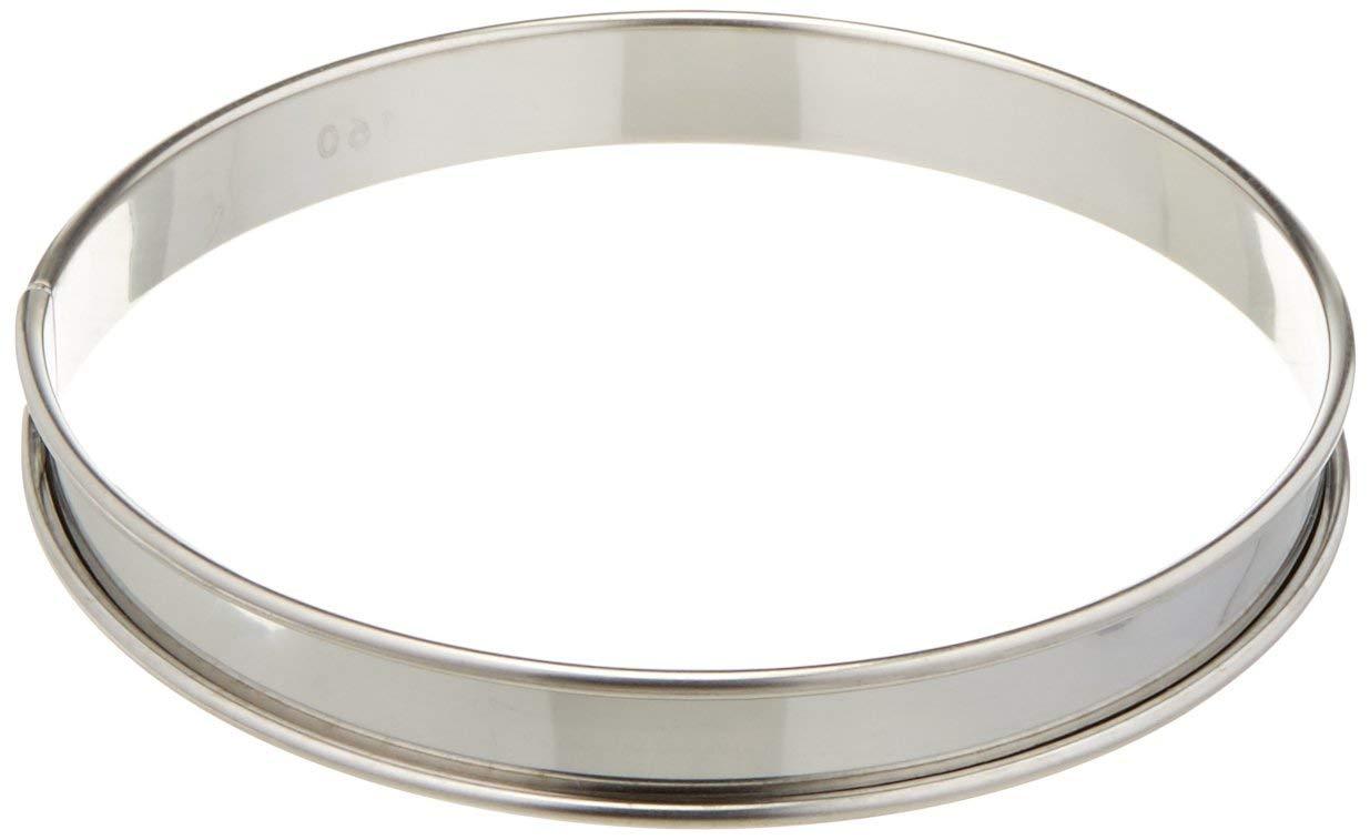 Matfer Bourgeat 371611 Plain Tart Ring, Silver
