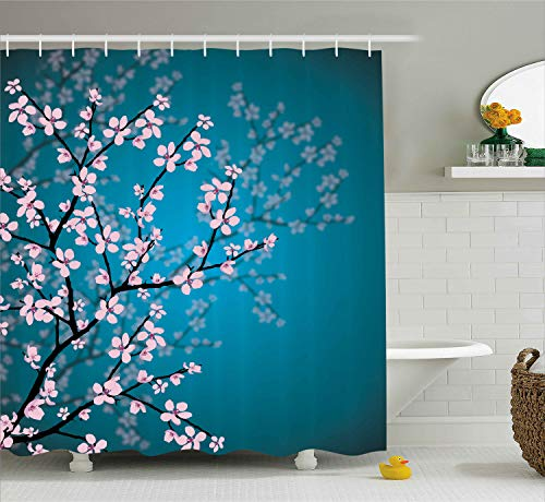 Ambesonne Teal Shower Curtain, Pink Blossoms Art Leaves and Plants Ombre Spring Japanese Sakura Flowers in Garden Park, Cloth Fabric Bathroom Decor Set with Hooks, 70