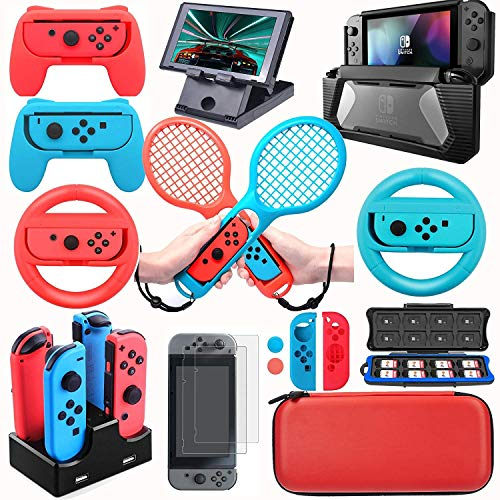 (DACCKIT Accessories Kit Compatible with Nintendo Switch - Including Switch Joy-Con Wheel, Tennis Racket, Joy-Con Charging Dock, Grips, Caps, Compact PlayStand, Game Card Case, Protective)