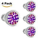 [Pack of 4] Full Spectrum E26 LED Grow Light Bulb, 28W Grow Plant Light for Hydroponics Greenhouse Organic Indoor Plants