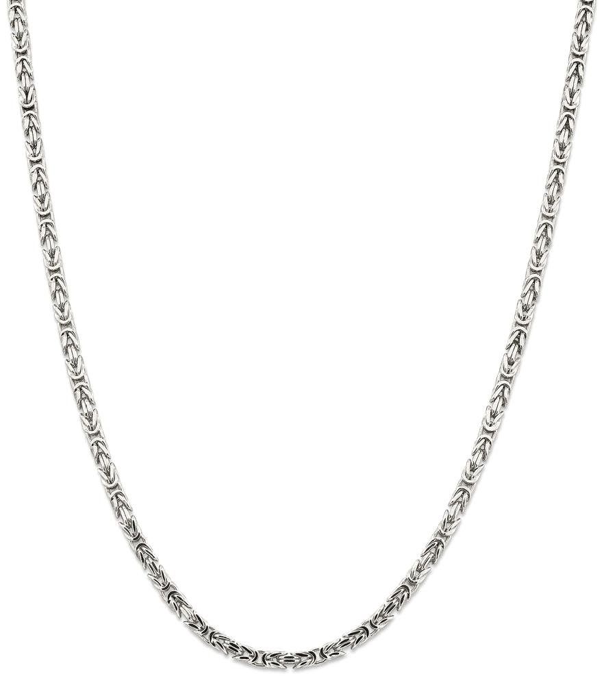 ICE CARATS 925 Sterling Silver 3.25mm Link Byzantine Necklace Chain Fine Jewelry Gift Set For Women Heart