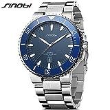 SINOBI Casual Men Stainless Steel Wrist Watch Waterproof Luminous Calendar Auto Date Sport Men Watch Blue