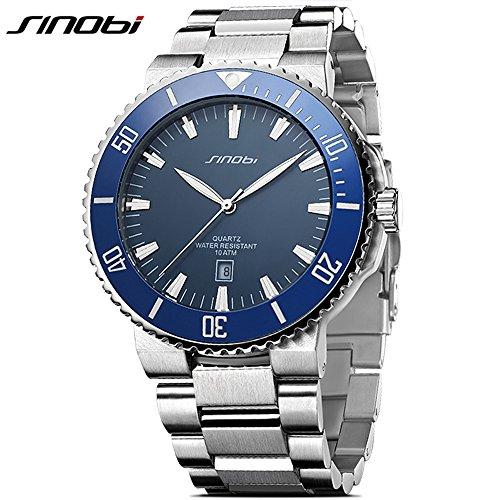 SINOBI Casual Men Stainless Steel Wrist Watch Waterproof Luminous Calendar Auto Date Sport Men Watch Blue Diva Charm Watch