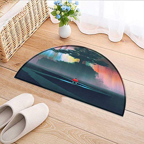 Mens Journey Water (Carpet Floor mat Bath mat Door mat Man gins Journey Winding Road to theTree Universe Paint Water-Absorbing Floor mat Anti-Slip mat W35 x H24 INCH)