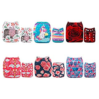 ALVABABY Baby Cloth Diapers 6 Pack with 12 Inserts Adjustable Washable and Reusable Pocket Dipaers Baby Girls 6DM57