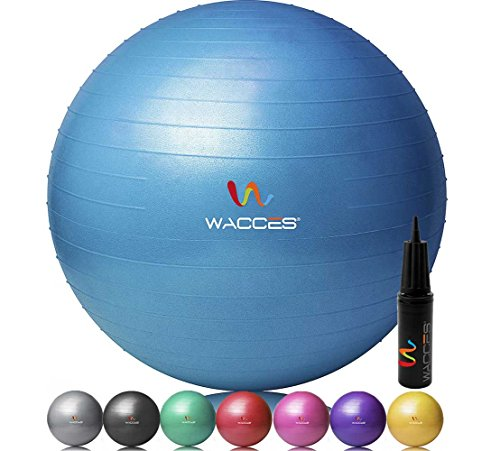 Wacces Professional Exercise, Stability and Yoga Ball for Fitness, Balance & Gym Workouts- Anti Burst - Quick Pump Included (Blue, 65 cm)
