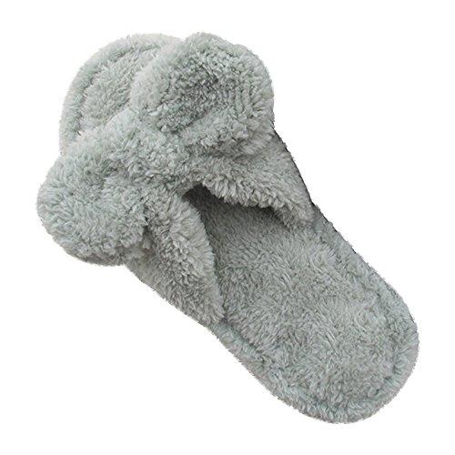 Eastlion Frauen und Mädchen Home Boden weichen bequemen Verschleiß Indoor Anti-Rutsch Baumwolle Bogen Hausschuhe Schuhe,Einheitsgröße Grau