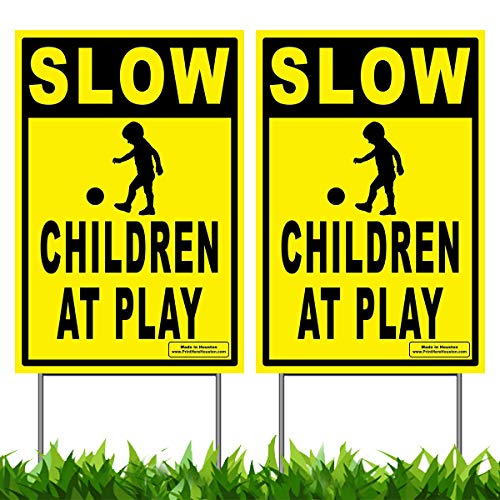 (Vibe Ink Pack of 2 Slow - Children at Play Caution Yard Signs - Lawn Sign + Metal Stakes (Double Pack))