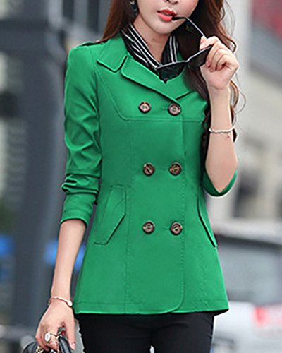 Trench Vert Coat Mince Trench Boutonnage Longues Manches Femme Lger Double Manteau PwgvvqE