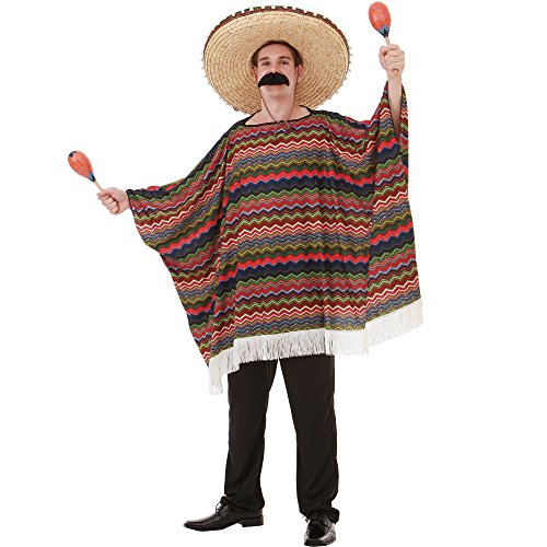 Mariachi Costume Man (Saltillo Serape Men's Halloween Costume Mexican Fiesta Mariachi Poncho Outfit, Multicolored, One Size)