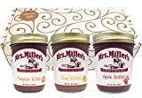 Favorite FRUIT BUTTERS Gift Assortment Box - 3 Jar Sampler, Variety Pack of Apple, Pumpkin and Pear Butter (9 oz full-sized jars) by Mrs. Miller's in a Gold Scroll Gift Box by Jarosa Gifts