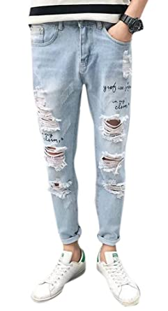 effea3cea00 Men's Raw Edge Distressed Skinny Slim Fit Jeans Ripped Denim Pants Blue at Amazon  Men's Clothing store:
